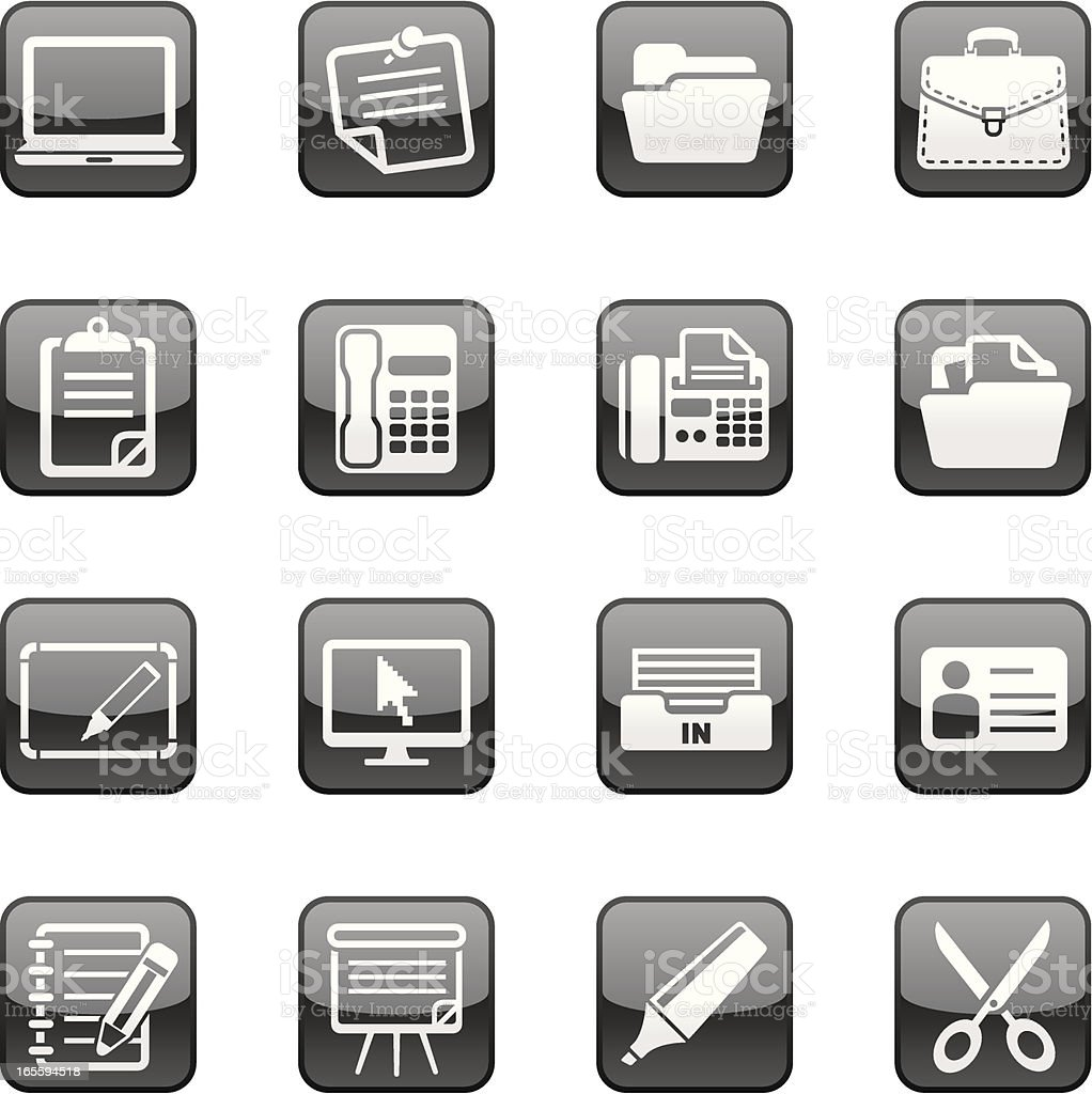 Office plus icons | Black Diamond series royalty-free stock vector art