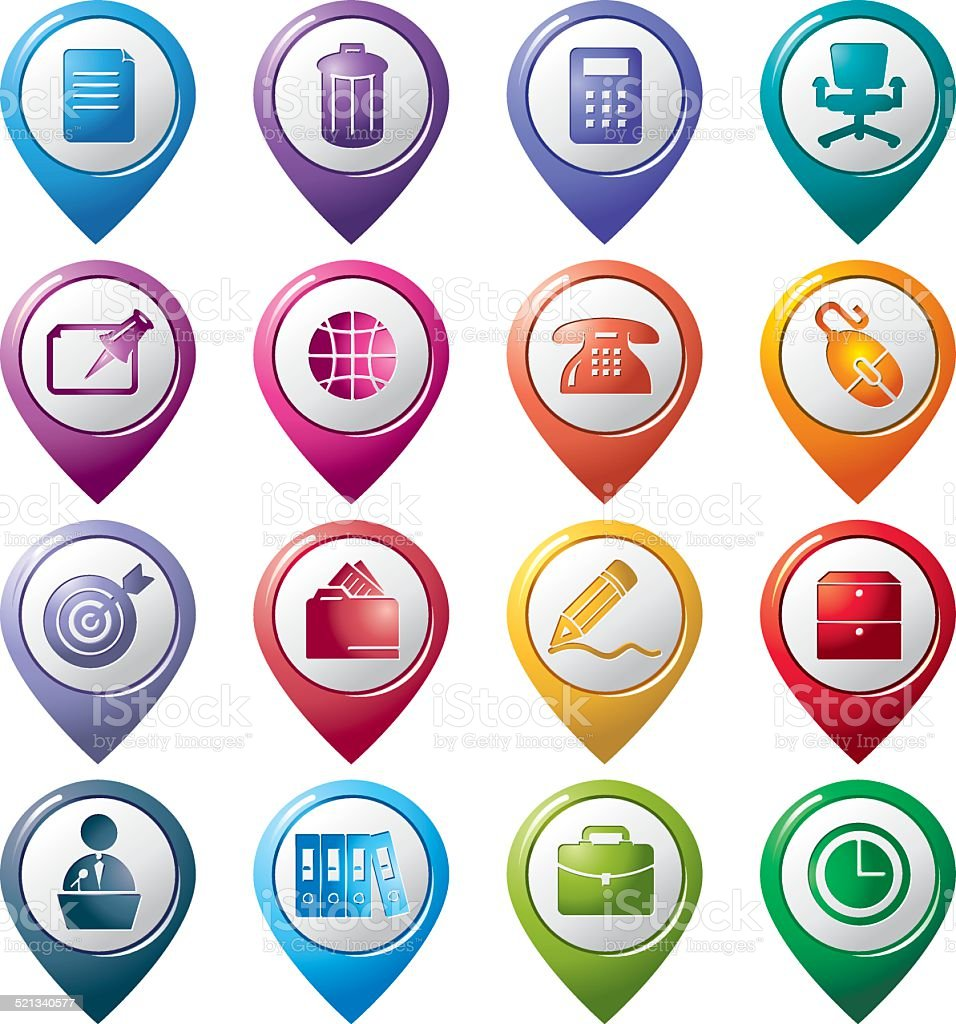 Office Pointer Icons vector art illustration