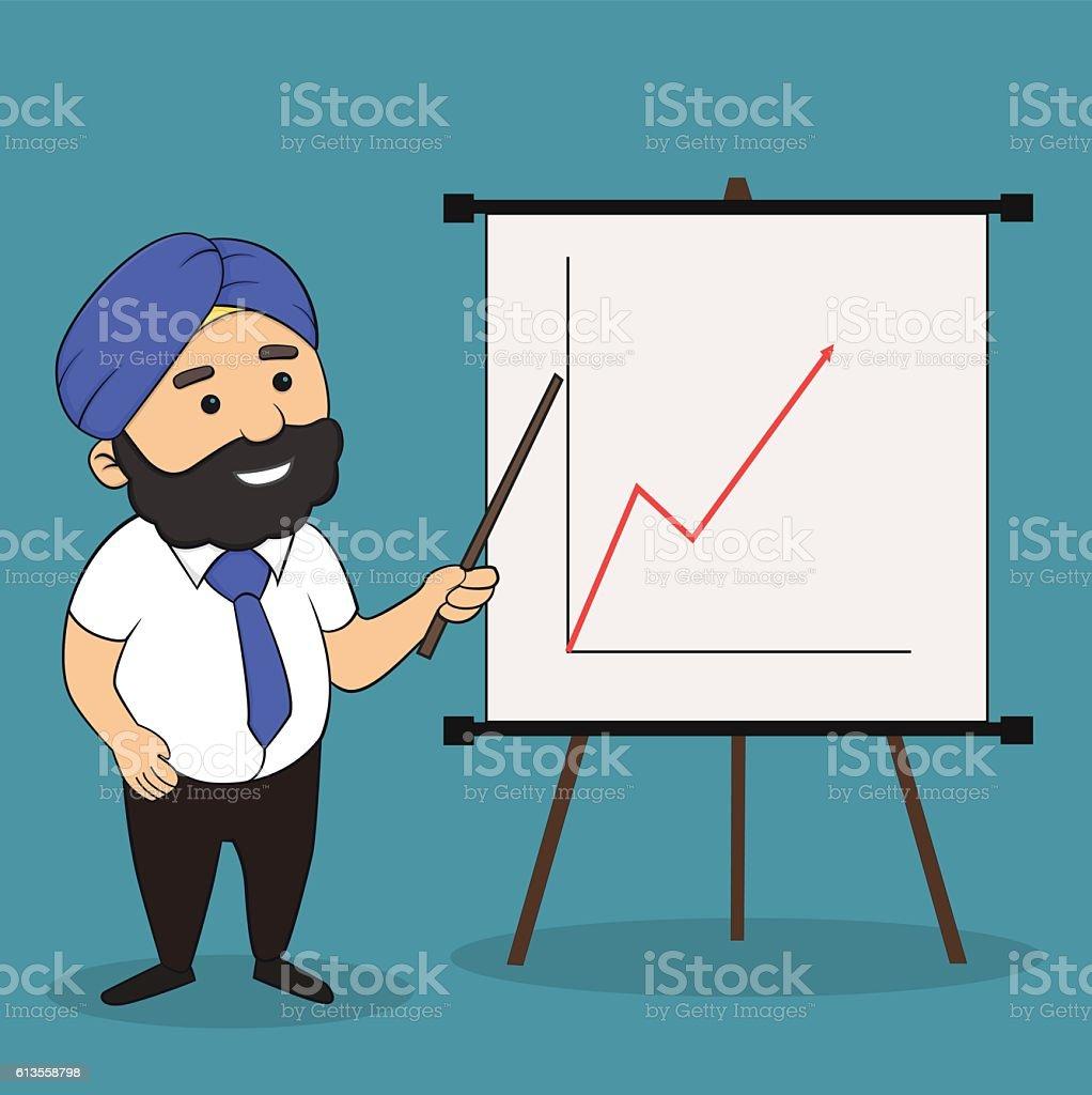 Office Presentation by Indian vector art illustration
