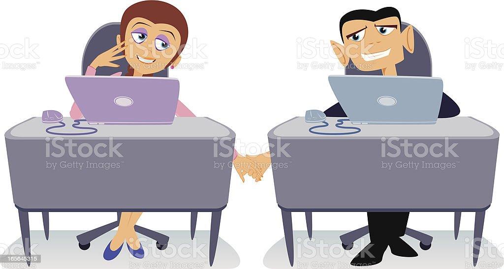 Office Romance Cartoon vector art illustration