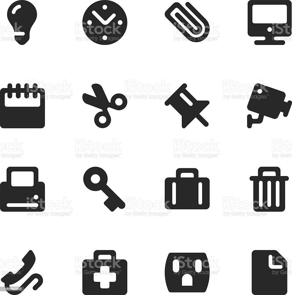 Office Silhouette Icons royalty-free stock vector art