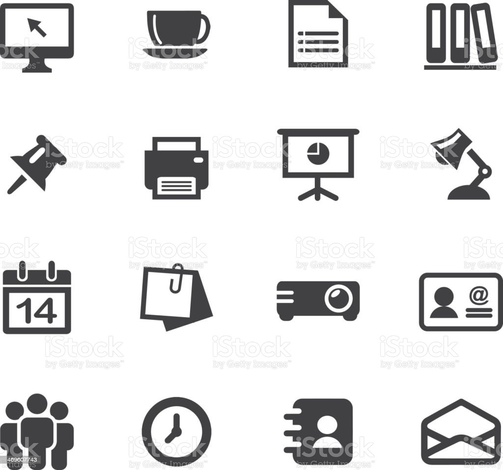 Office Silhouette Icons vector art illustration
