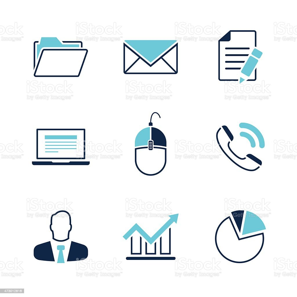 Office simple vector icon set vector art illustration