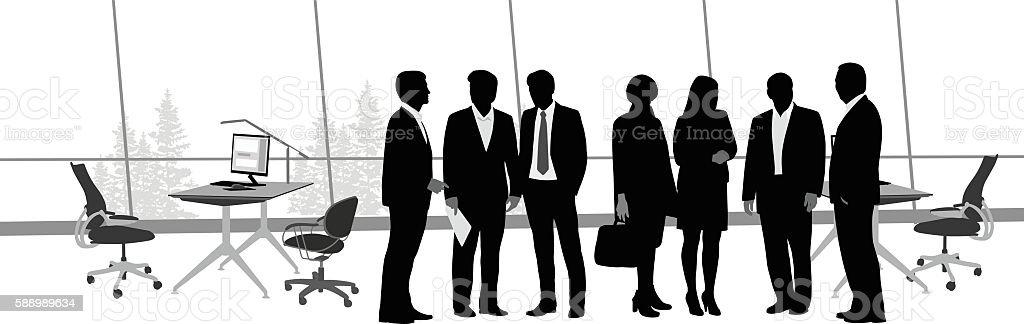 Office Staff And Desks vector art illustration
