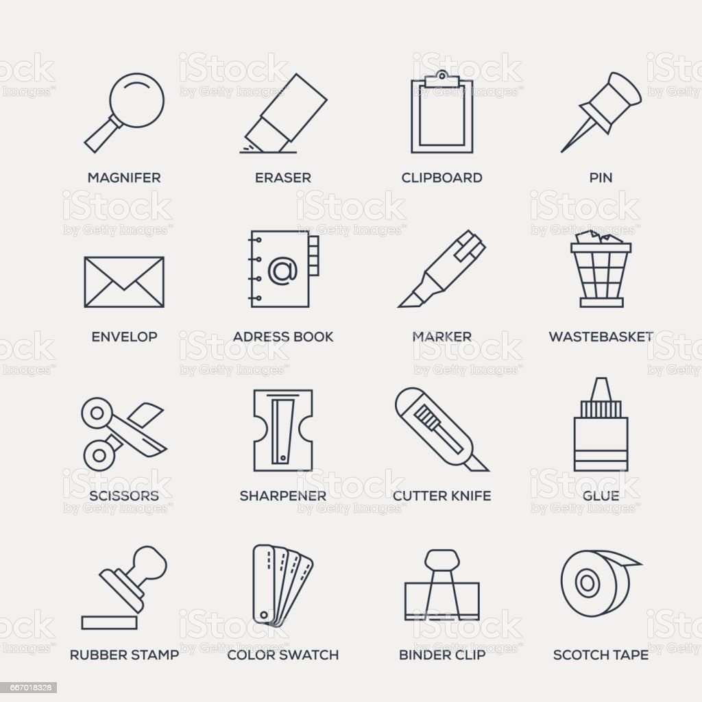 Office Stationery Icon Set - Line Series vector art illustration