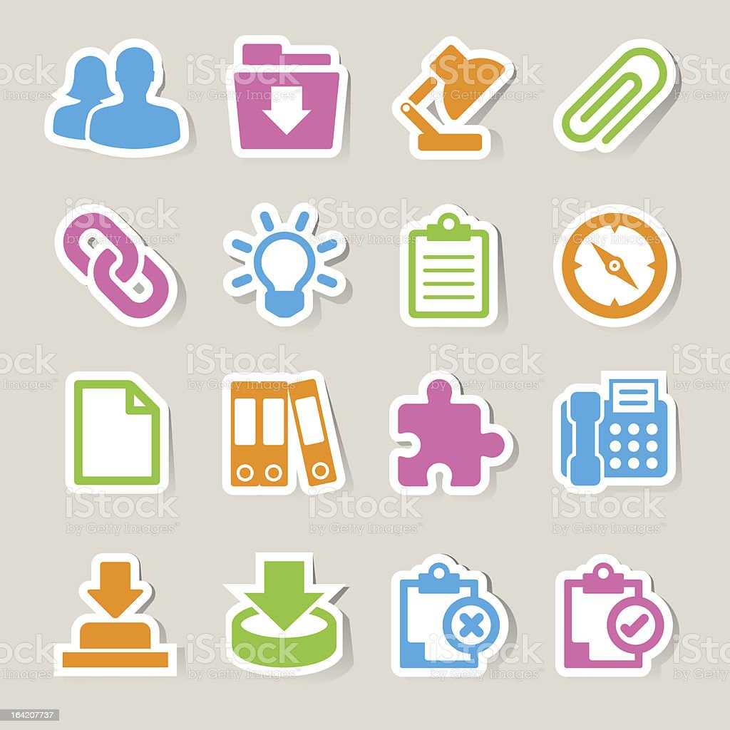Office sticker icons set. Illustration eps 10 royalty-free stock vector art