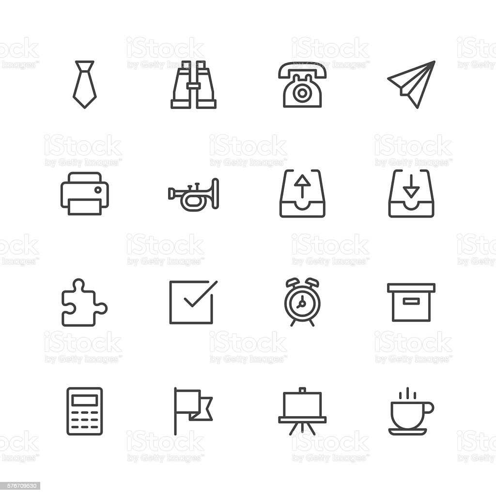 Office stuff icons vector art illustration