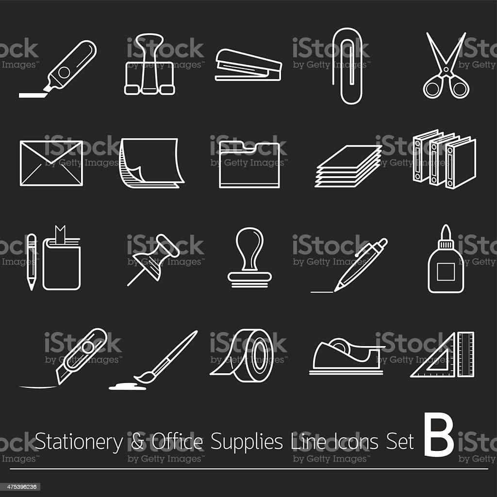 Office Supplies and Stationery Objects Linear Icons Set B vector art illustration