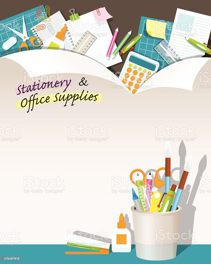 Office Supplies and Stationery Paper Background and Frame vector art illustration