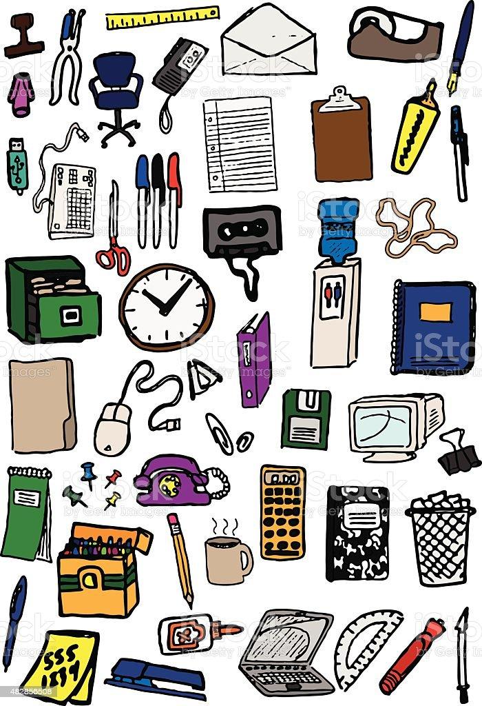 Office Supplies Doodles vector art illustration