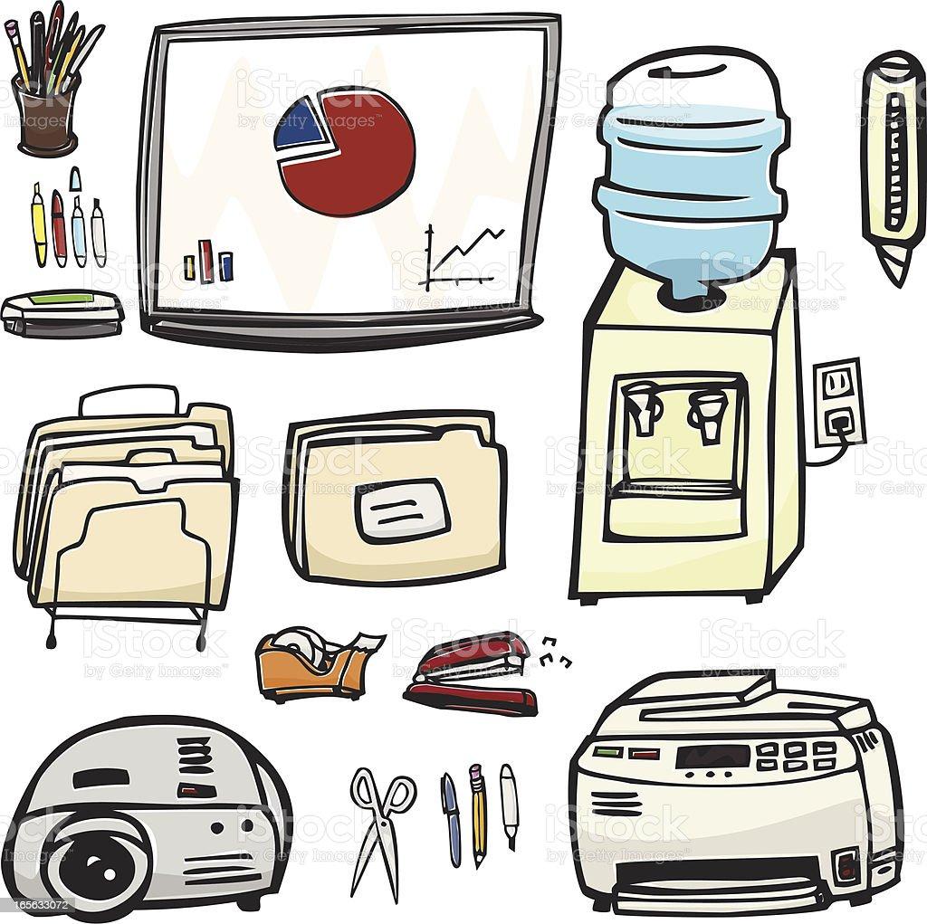 Office Supplies & Equipment royalty-free stock vector art