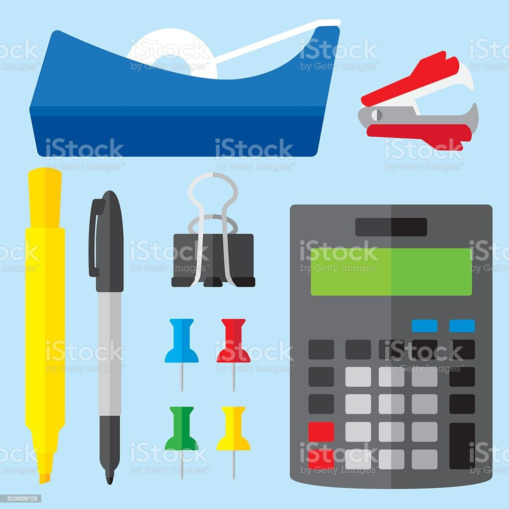 Office Supplies Flat 2 vector art illustration