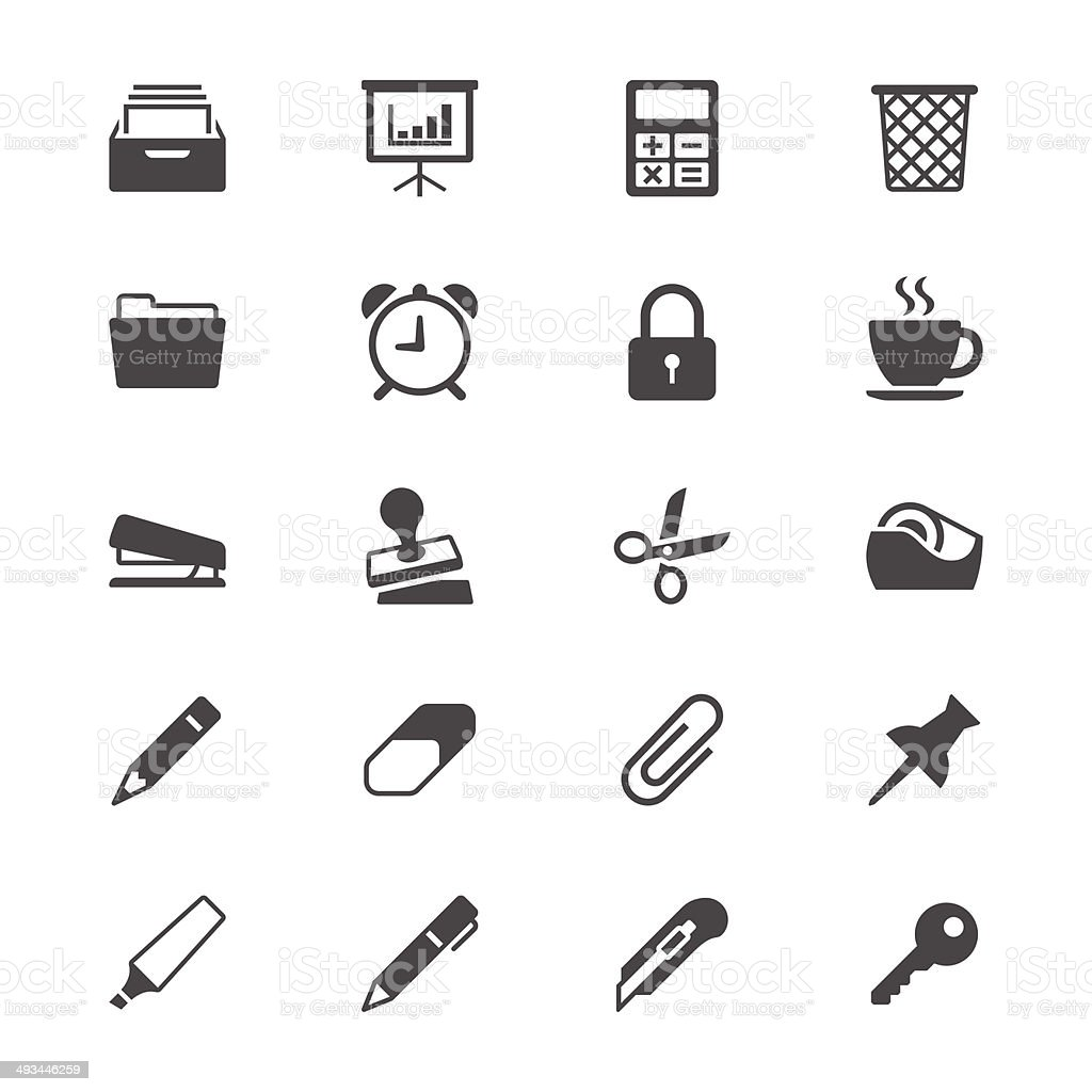 Office supplies flat icons vector art illustration