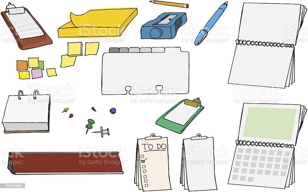 Office Supplies I vector art illustration