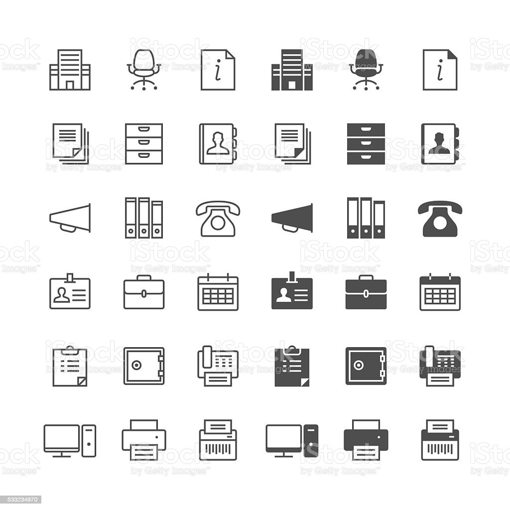 Office supplies icons, included normal and enable state. vector art illustration