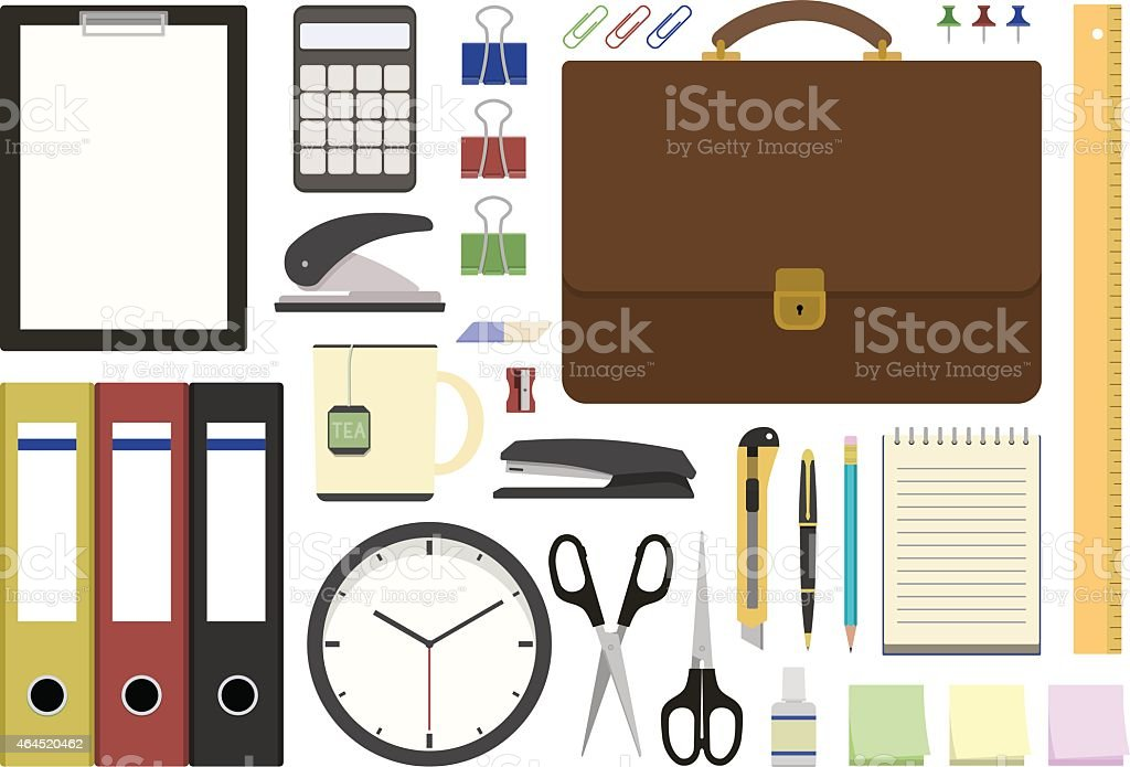 Office supplies in flat design vector art illustration