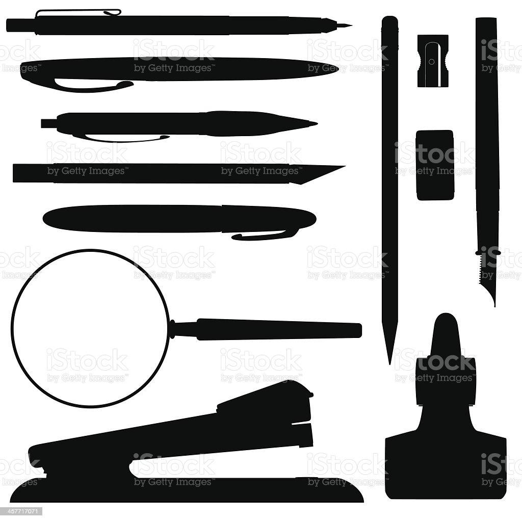 Office Supplies silhouettes vector art illustration