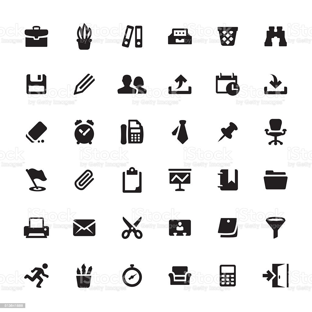 Office Supply and Paperwork vector symbols and icons vector art illustration