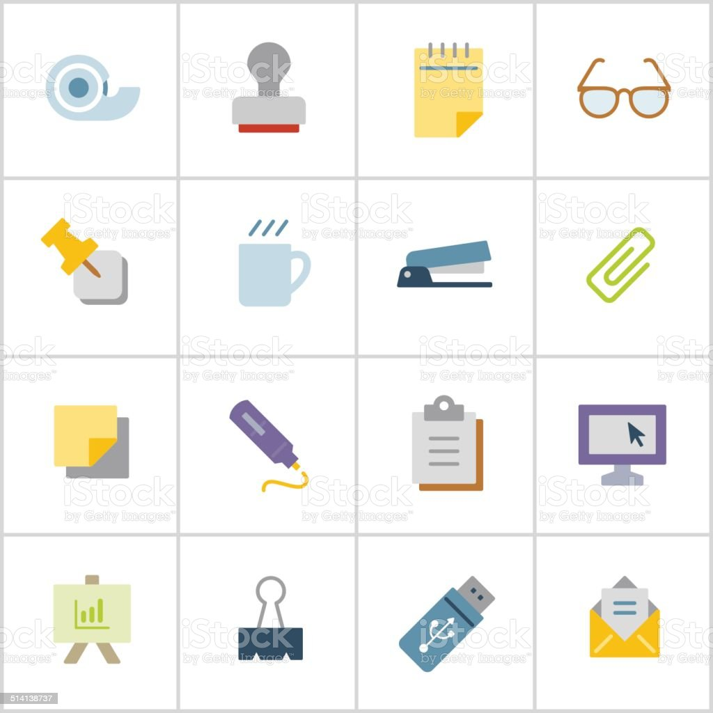 Office Supply Icons 1 — Poly Series vector art illustration