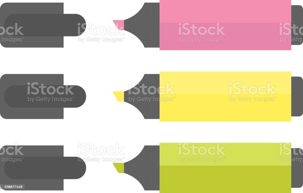 Office supply markers vector illustration. vector art illustration