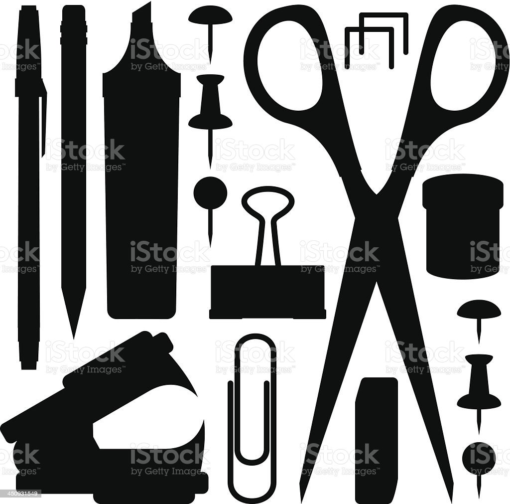 Office Supply Silhouettes royalty-free stock vector art