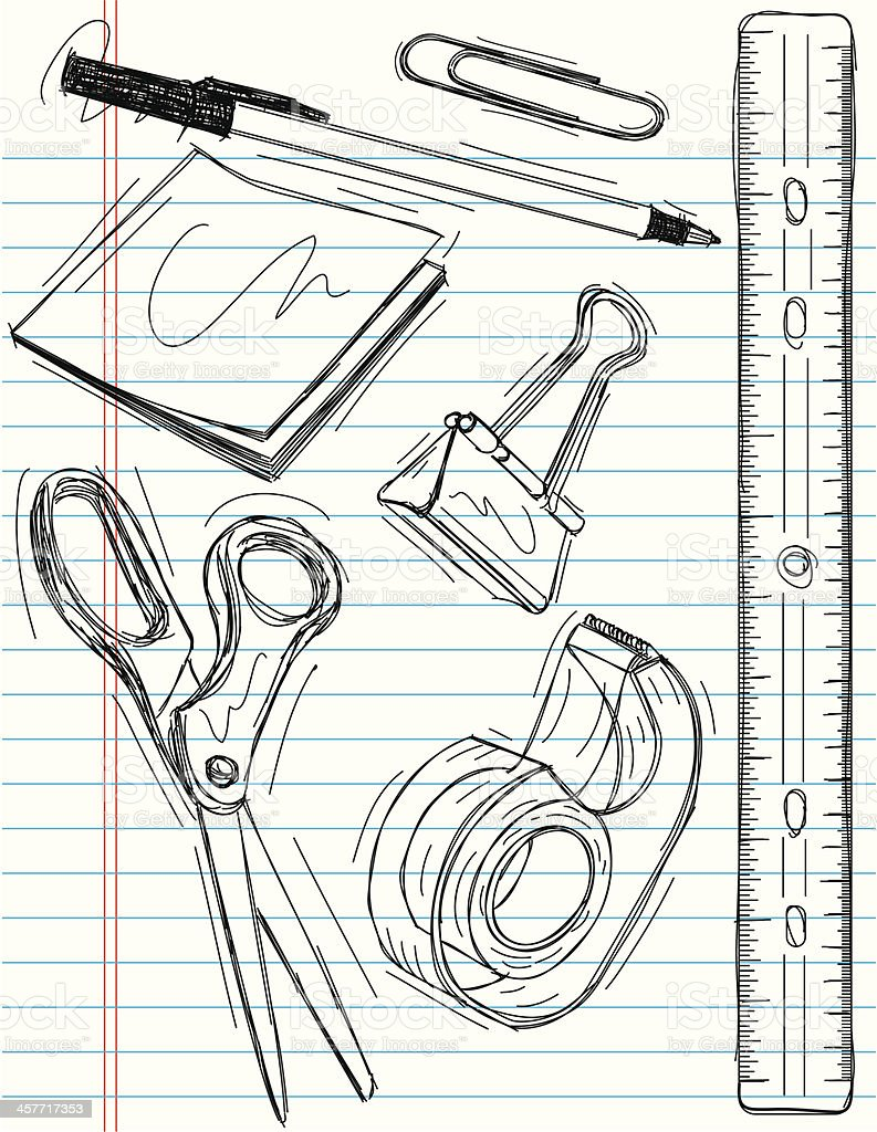 office supply sketches royalty-free stock vector art