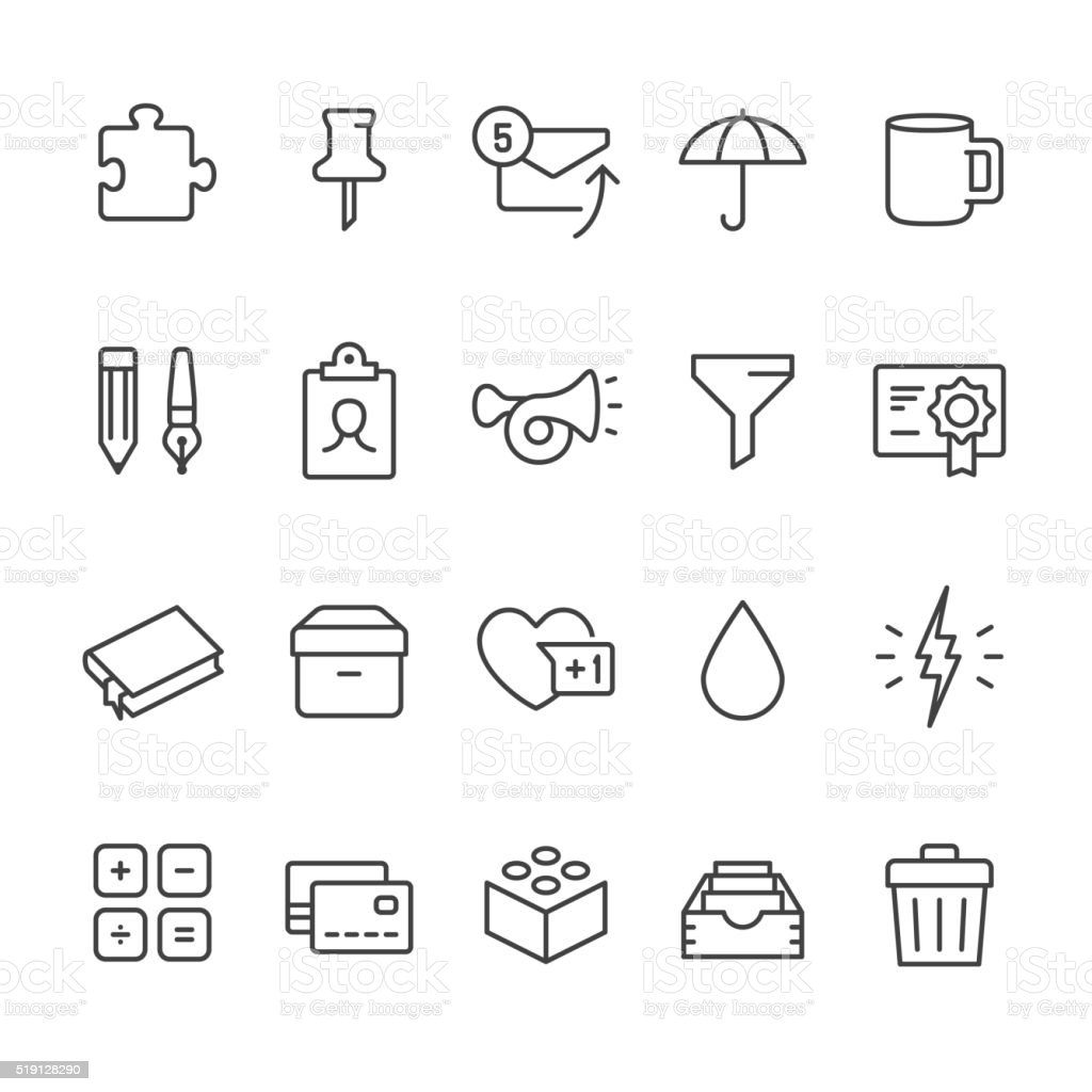 Office Supply vector icons vector art illustration
