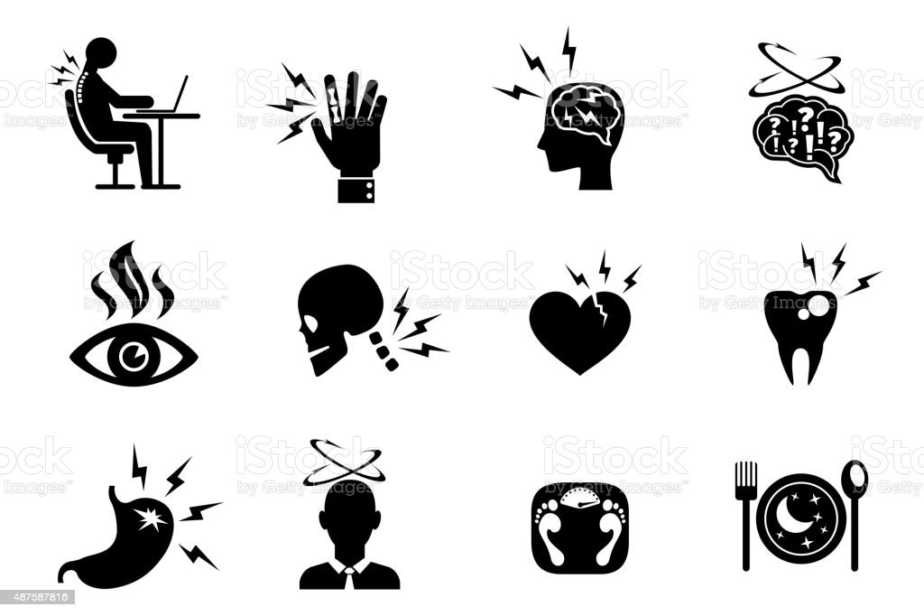 Office syndrome effects icons set vector art illustration