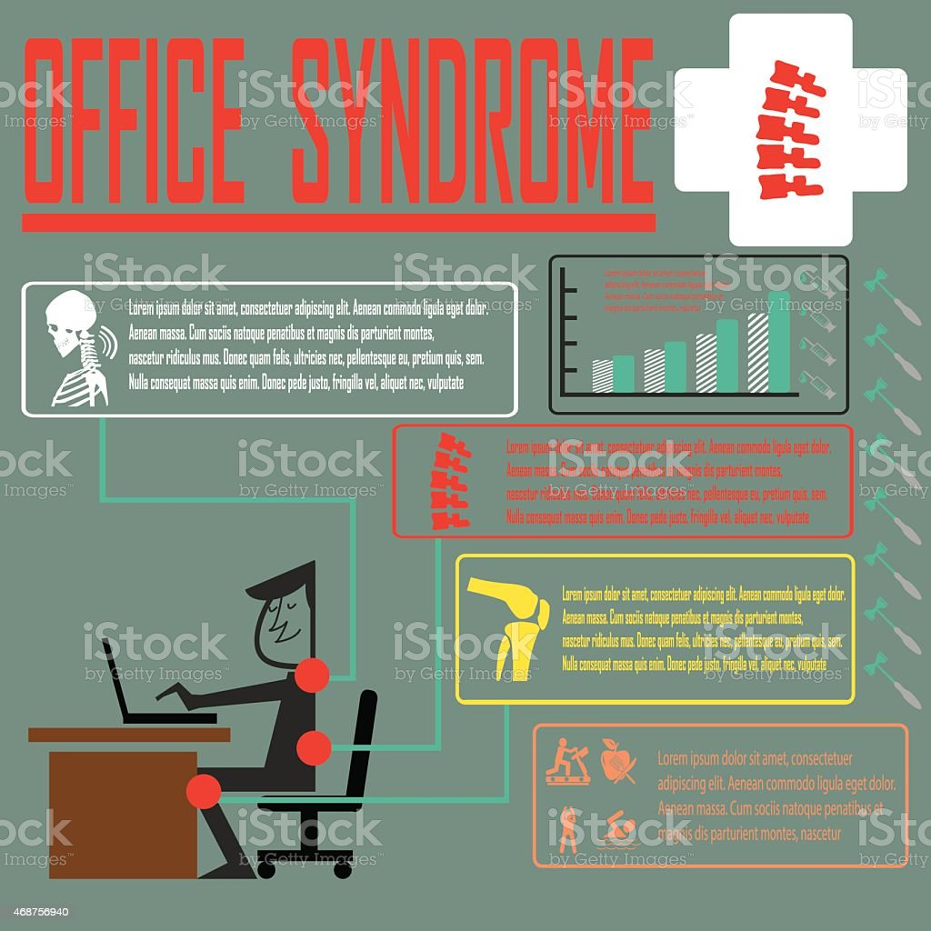 Office syndrome infographics vector art illustration