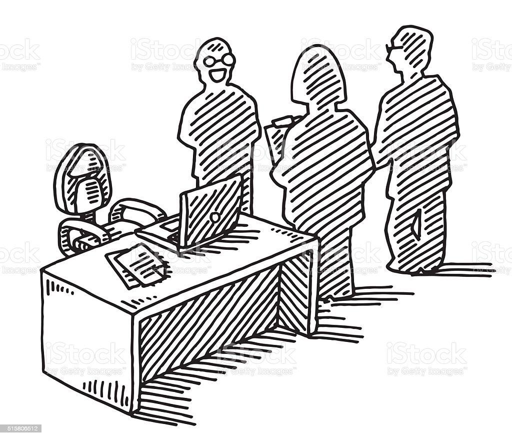 Office Team Meeting Drawing vector art illustration