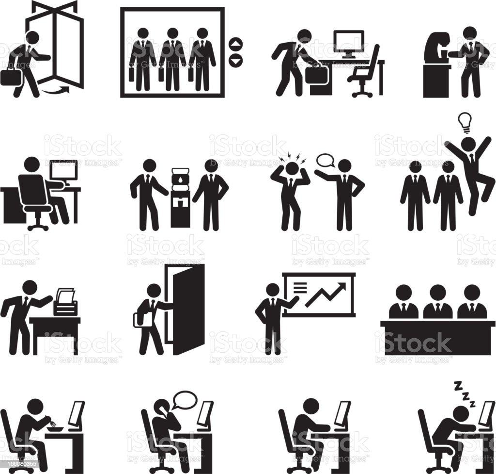 Daily Office Job black and white set vector art illustration