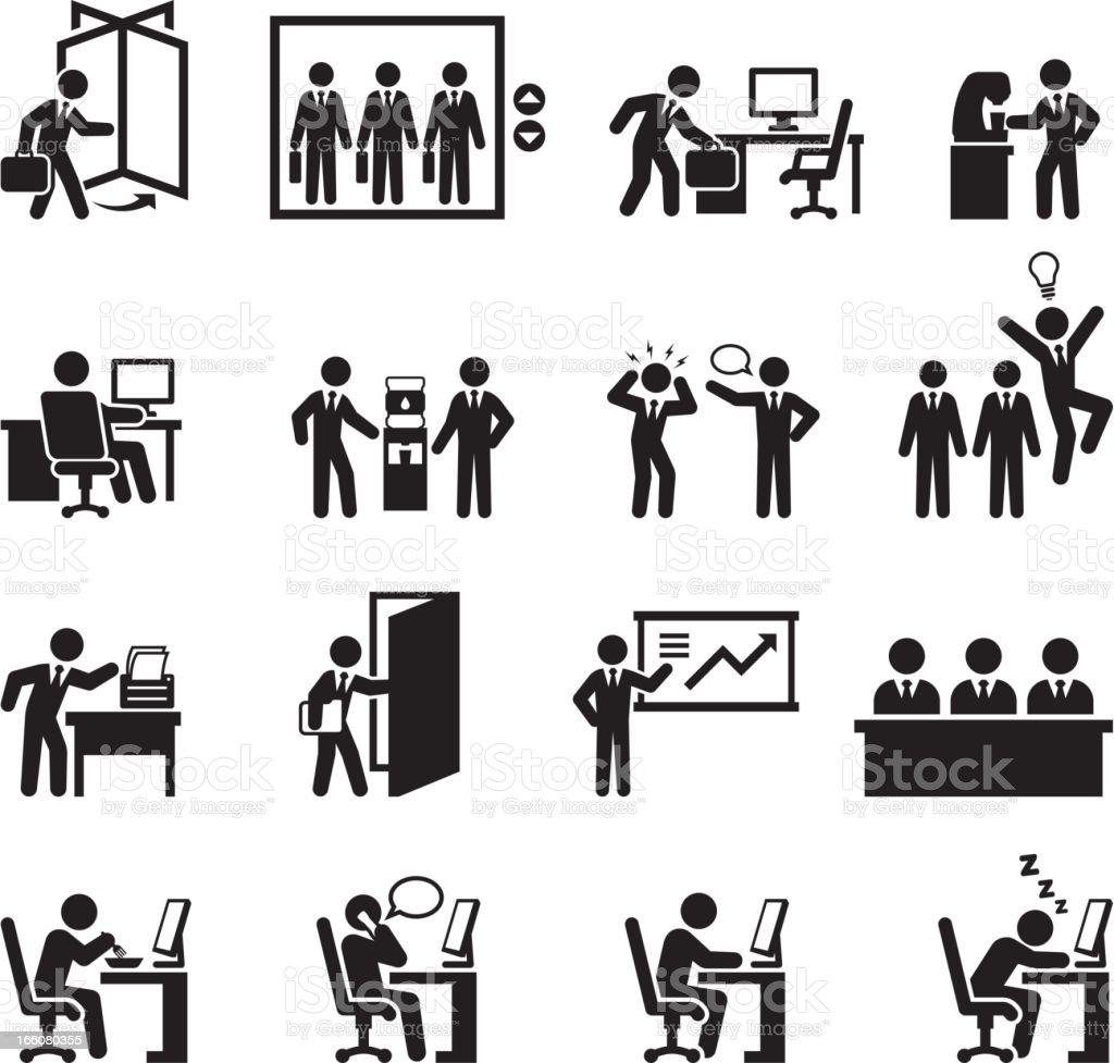 Office themed black and white illustration set vector art illustration