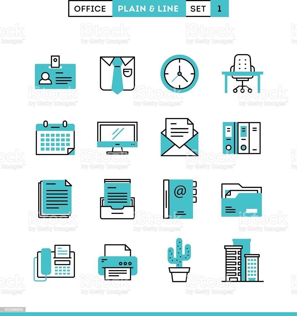 Office things, plain and line icons set, flat design vector art illustration