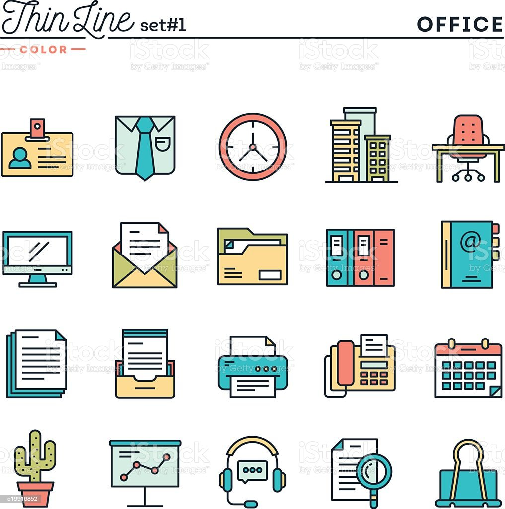 Office things, thin line color icons set vector art illustration