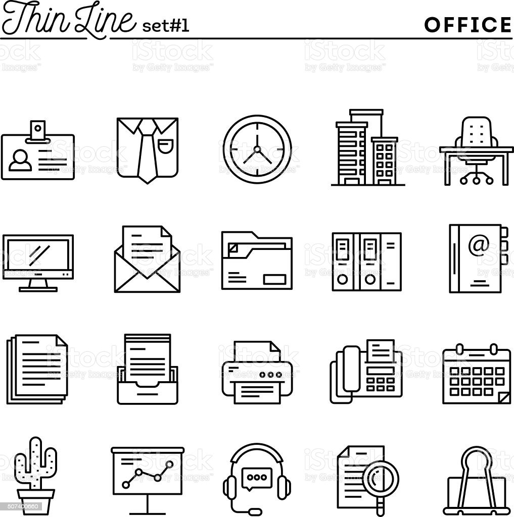 Office things, thin line icons set vector art illustration