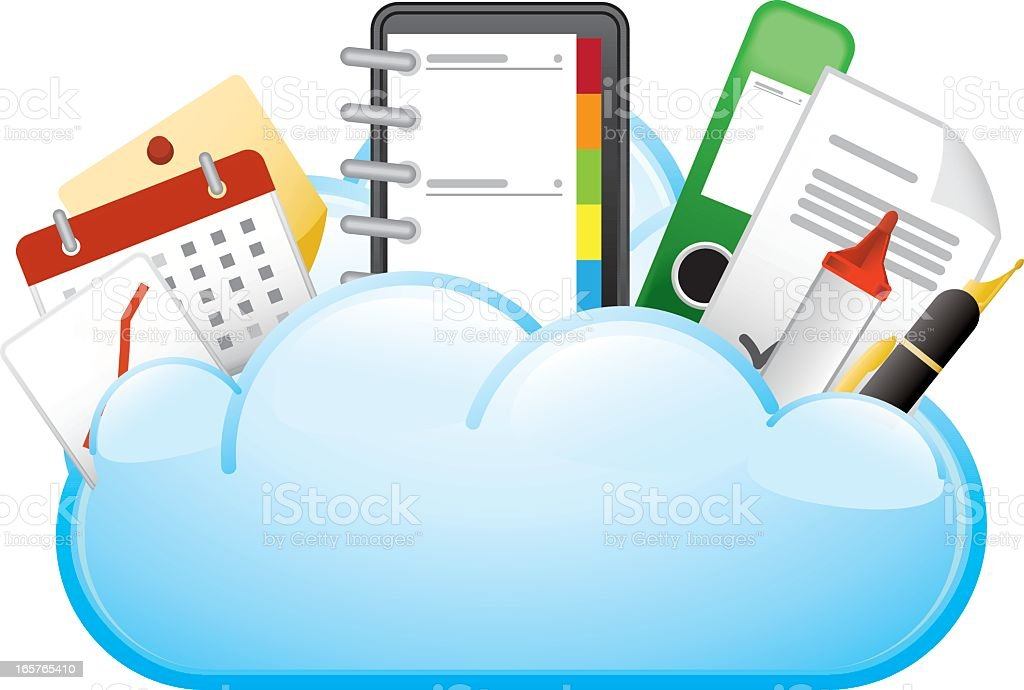 Office Tools in a Cloud royalty-free stock vector art