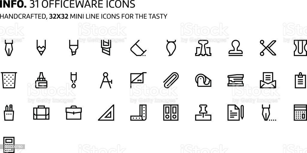 Office tools mini line, illustrations, icons vector art illustration