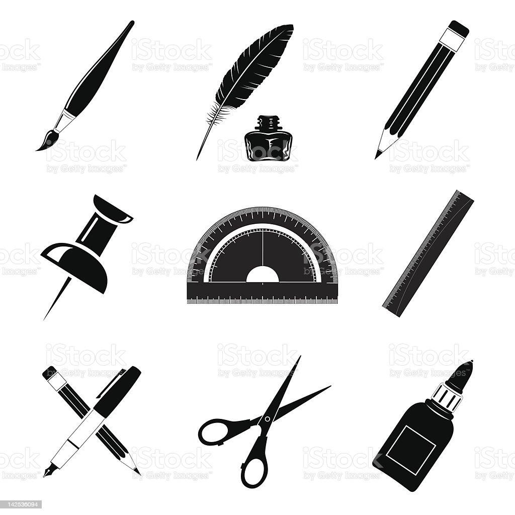 Office tools vector art illustration
