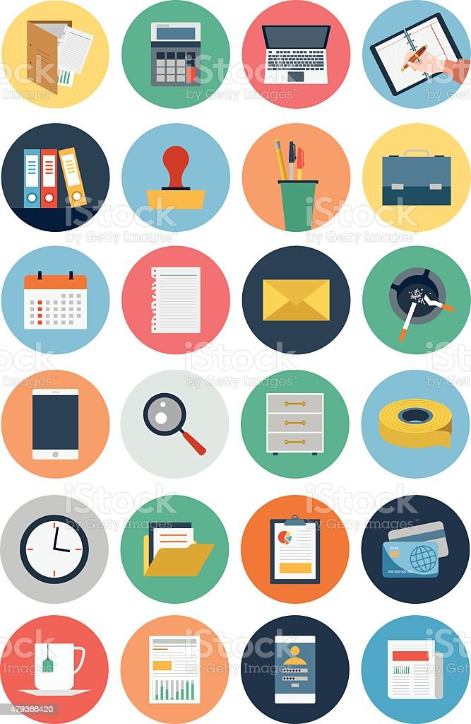 Office Vector Flat Icons 1 vector art illustration