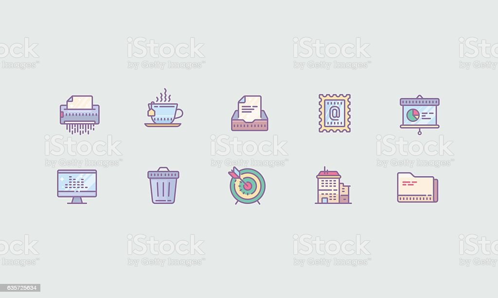 Office (Colored) vector art illustration