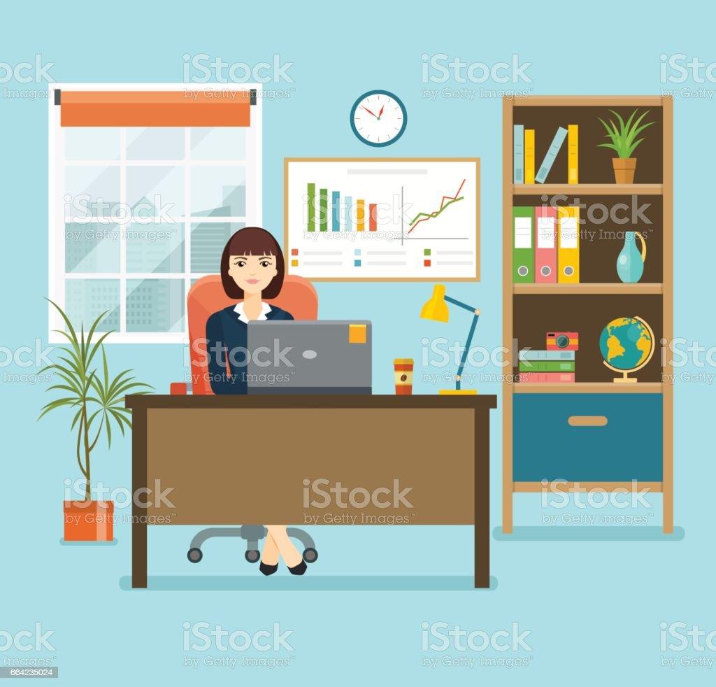 office vector art illustration