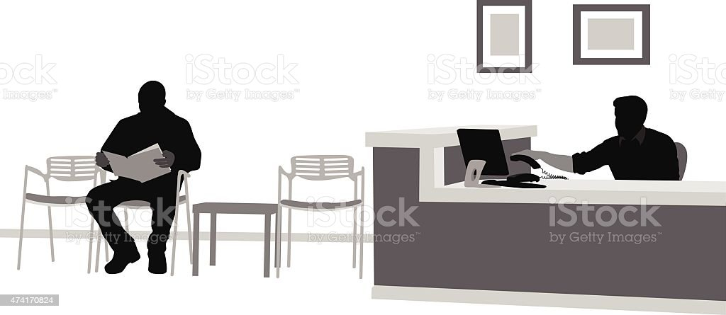 Office Waiting Room vector art illustration