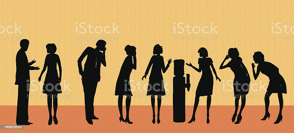 Office Water Cooler Gossip vector art illustration