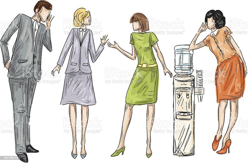 Office Water cooler Gossip vector art illustration