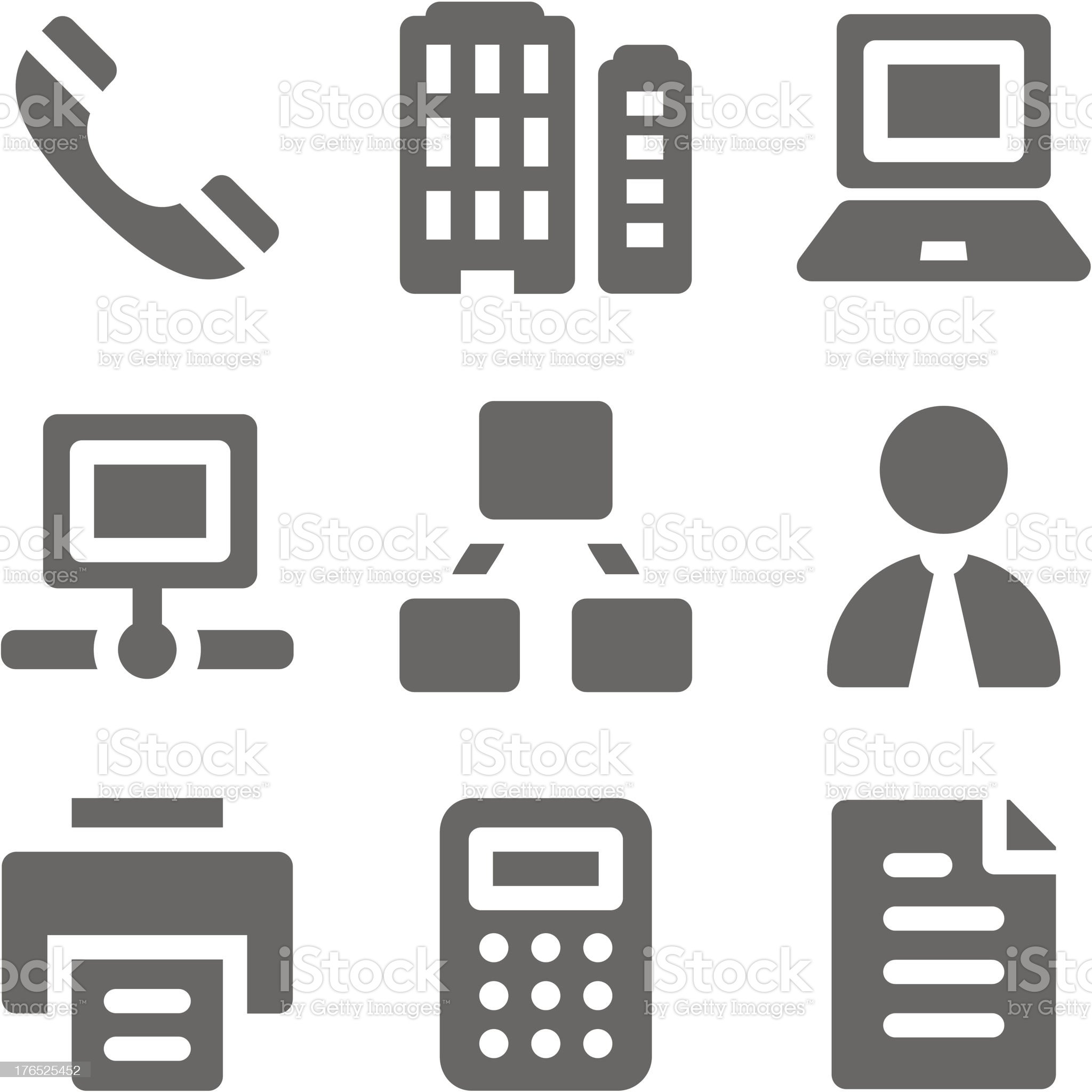 Office web icons, grey solid series royalty-free stock vector art
