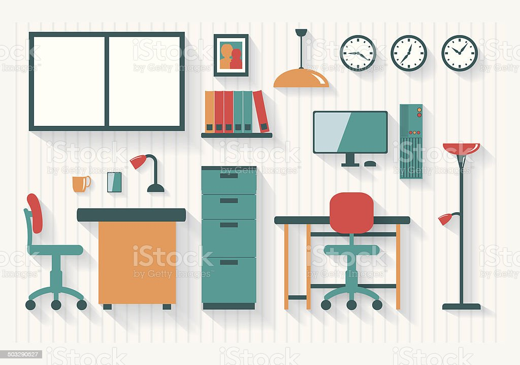 Office with Filing Cabinet Furniture and Fittings Long Shadows vector art illustration