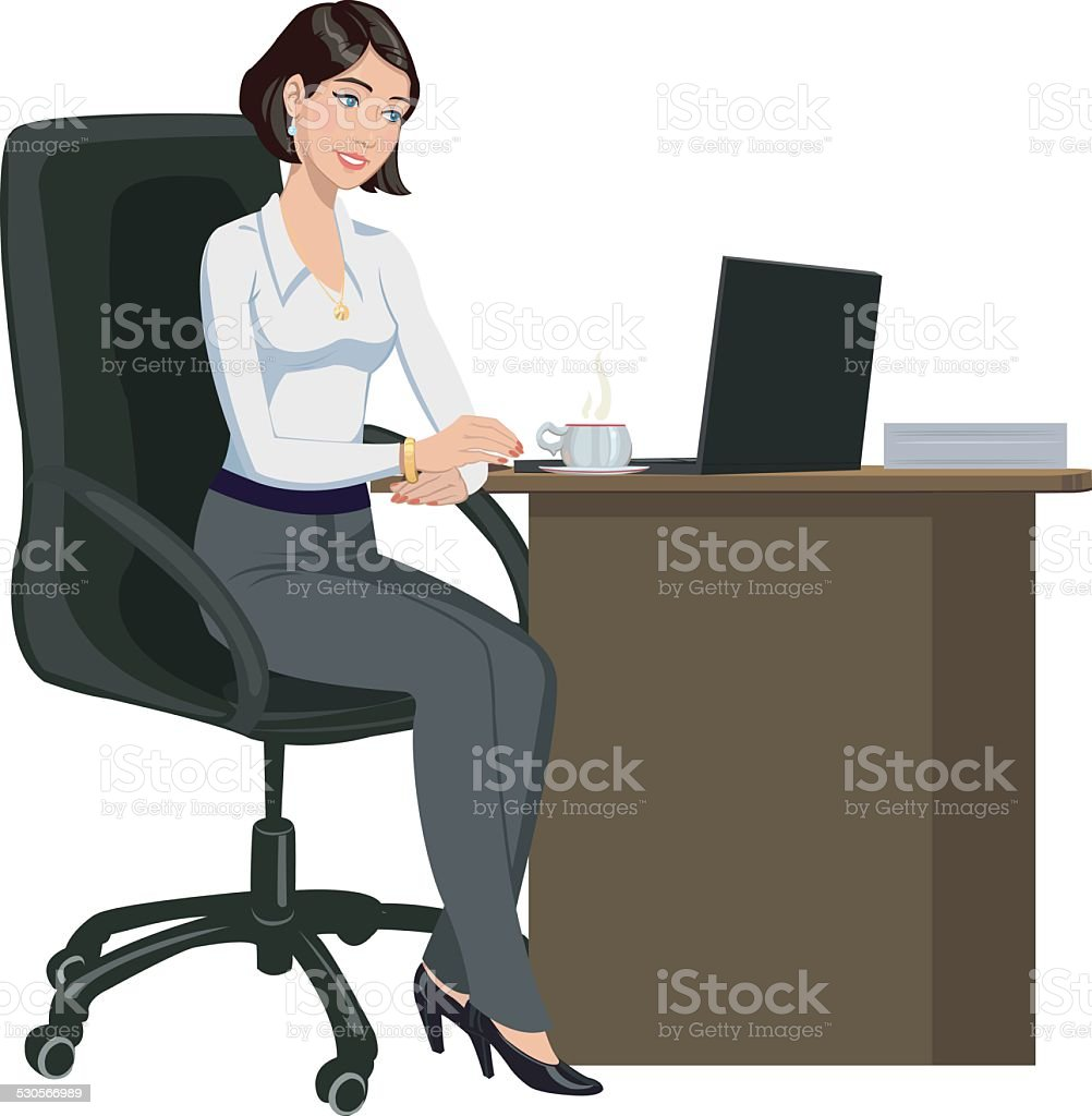 office woman behind a Desk with a laptop royalty-free stock vector art