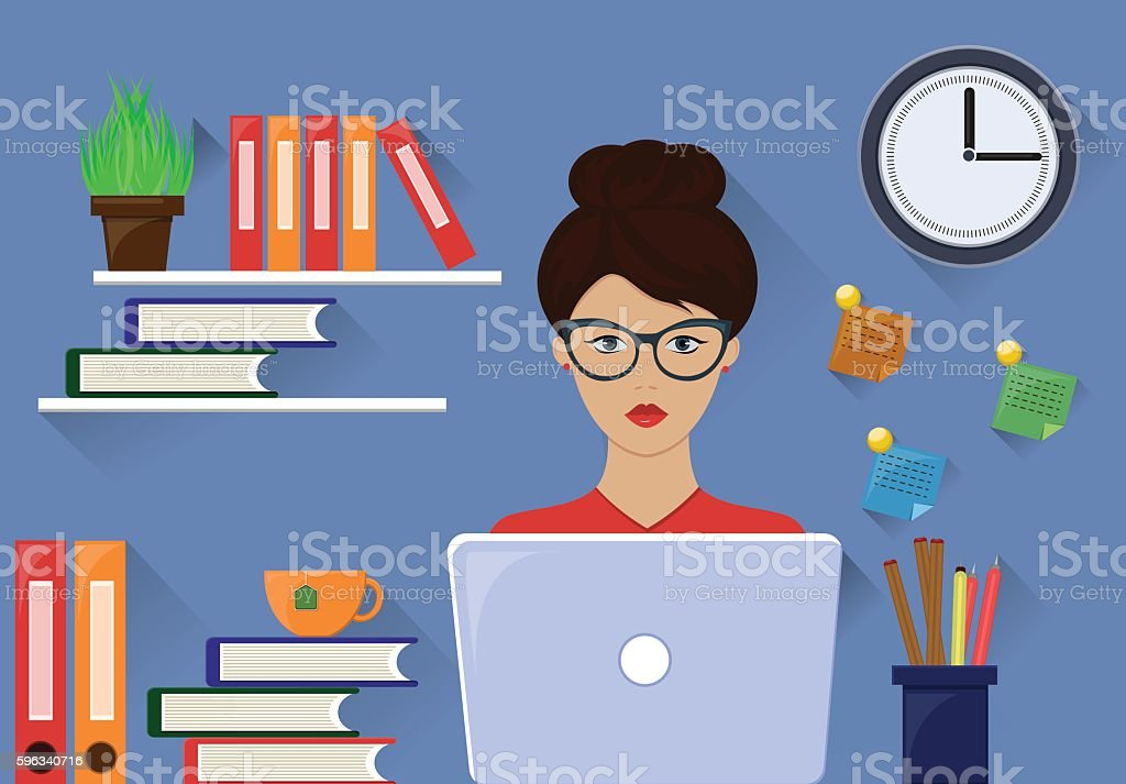 Office woman working on workstation desk. Vector illustration vector art illustration