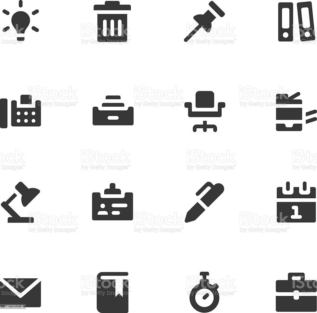 Office work icons - Bold vector art illustration