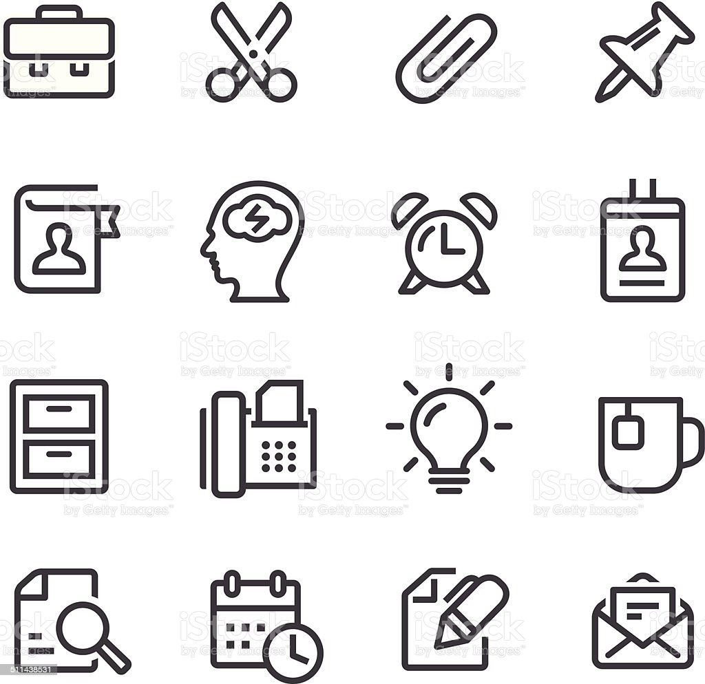 Office Work Icons - Line Series vector art illustration